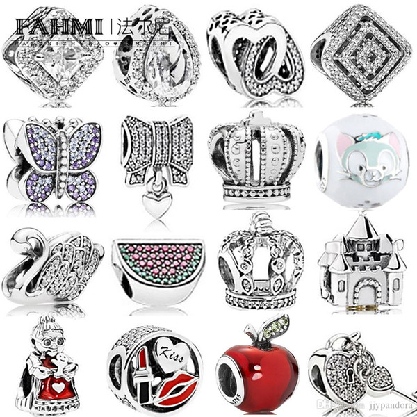 FAHMI 100% 925 Sterling Silver Charm Watermelon Red & Green Royal Crown Sparkling Butterfly Padlock Swan Clear CZ Bow & Heart CZ LOVE