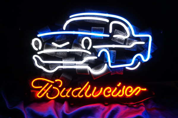 New Star Neon Sign Factory 17X14 Inches Real Glass Neon Sign Light for Beer Bar Pub Garage Room Budweiser Car .