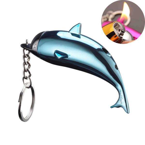 Keychain Lighter Creative Portable Dolphin Shaped Cute Gas Lighters for Women Cigarette Accessory Collection Refillable