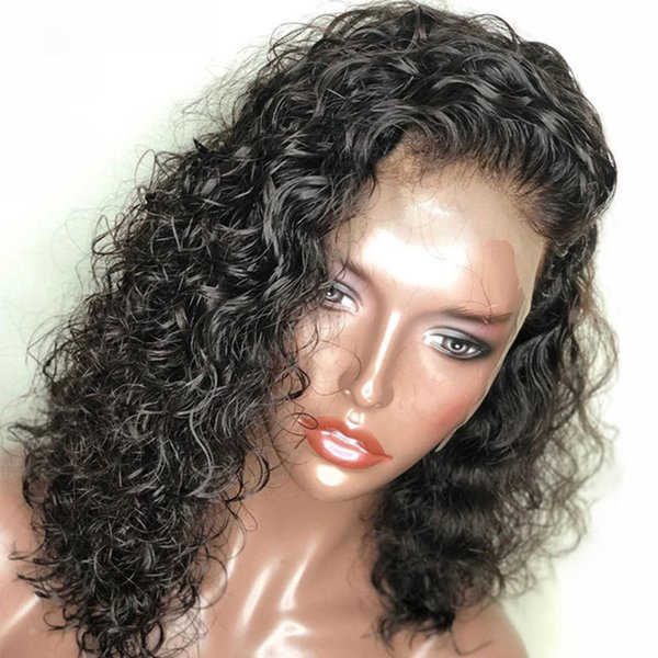 Pelucas rizadas de onda de agua de estilo moderno Pelucas delanteras de encaje de cabello humano brasileño virgen para envío rápido