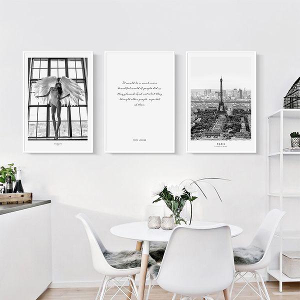Paris Canvas Art Print Pittura Nordic Poster, la foto della parete della Torre Eiffel per la decorazione della camera da letto