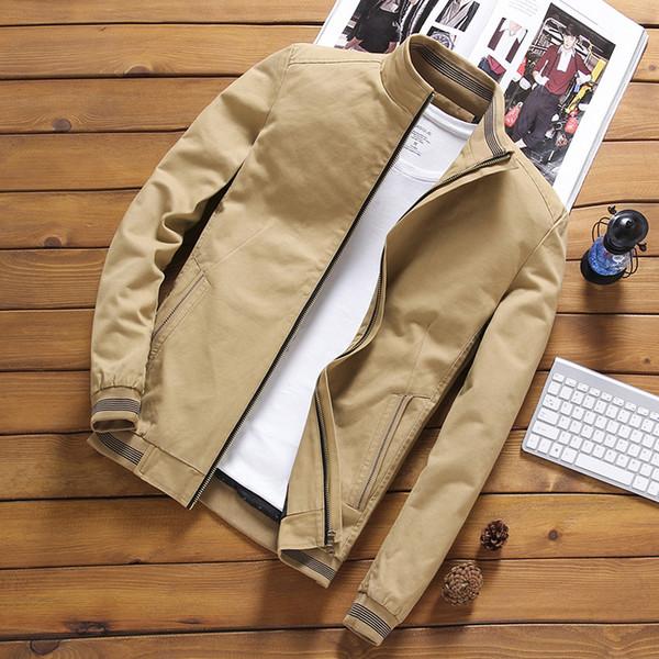 DIMUSI İlkbahar Sonbahar Erkek Bombacı Ceket Casual Erkek Dış Giyim WINDBREAKER Standı Yaka Ceket Erkek Beyzbol İnce Coats 5XL, YA810