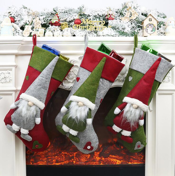 19 Inch Hanging Christmas Stocking Kits Felt Applique Classic Socks For Xmas Home Decor Candy Gift Bag Holders For Kids House Decorations For