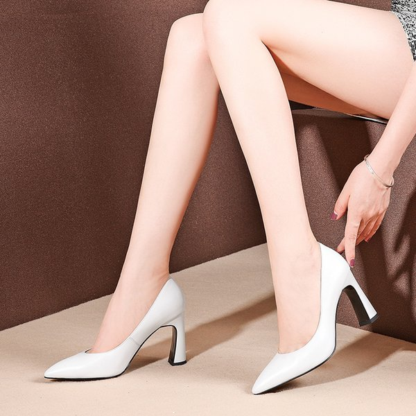 Fairy2019 Leather Genuine Fund con tacco a spillo Sharp Fine con l'ultima moda scarpe bianche da donna