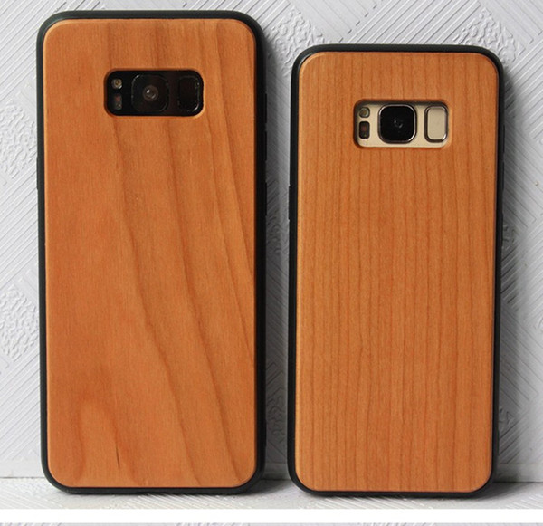 Vrai bambou / bois cas + TPU bord rond doux pour iPhone X XS Max XR 6 7 8 dur sculpture bois bambou Samsung Smartphone