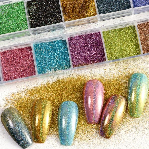 12 couleurs miroir poudre à ongles super brillant ongles paillettes or rouge manucure art paillettes chrome poussière décoration