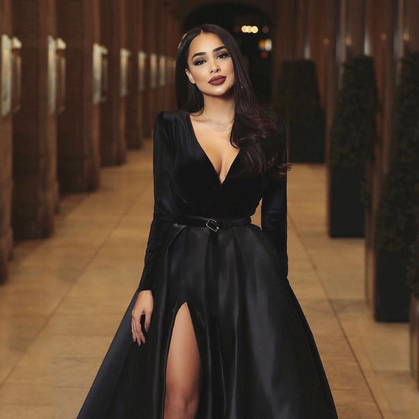2019 New Fashion Sexy Deep V Neck Black Evening Dresses Long Sleeves High Side Split Special Occasion Dress formal dress evening gown