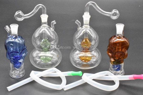 High quality Colorful skull gourd glass oil rig bong newest thick heady water glass oil burner bong for smoking