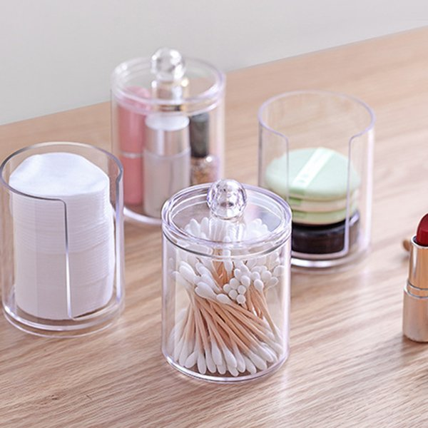 2019 Container Makeup Holder Transparent Cosmetic Case Storage Box Clear  Portable Round Cotton Pad Storage Box HK0311 From Hengli_zm, $2.54
