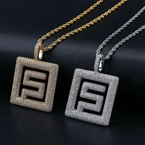 hip hop diamonds pendant necklaces for men luxury designer pendants western 18k gold plated copper zircons cuban chain necklace 2 colors