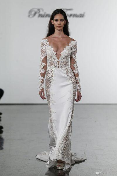 2019 New Pnina Tornai Mermaid Wedding Dresses V Neck Lace Bridal Gowns plus size Long Sleeves Wedding Dress Custom AY114
