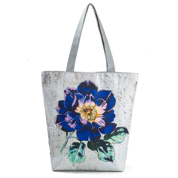 good quality Vintage Floral Printed Shoulder Bag Women Daily Use Summer Beach Bag Lady Large Capacity Female Shopping Bag