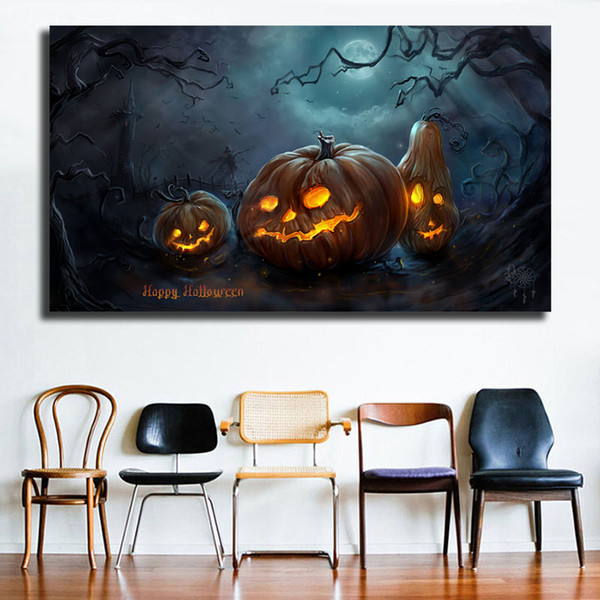 Compre Happy Halloween Wallpapers Hd Wall Art Canvas Poster And Print Canvas Pintura Imagen Decorativa Para Oficina Salón Decoración Para El Hogar A