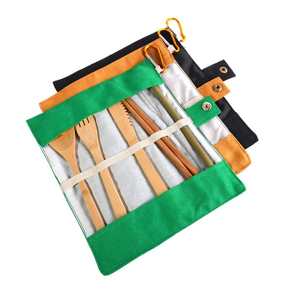 Reusable Tableware Dinnerware Sets for Outdoor Travel Portable Bamboo Knife Fork Chopsticks Straw Mini Brushs with Cloth Bag Package