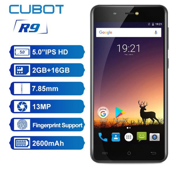 Originale Cubot R9 Quad Core MT6580 Android 7.0 Impronta digitale 2 GB RAM 16 GB ROM Smartphone 5.0 Pollici 1280x720 Schermo HD 13.0MP Fotocamera Celular