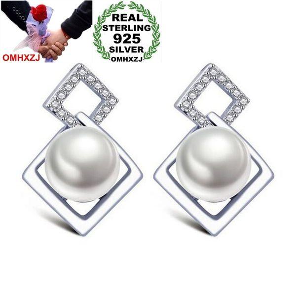 OMHXZJ Wholesale Geometric Elegant Fashion joker OL Style for Woman Gift Rhombus Pearl 925 Sterling Silver Stud Earrings YS265