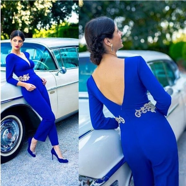 Arabic Dubai Elegant Blue Jumpsuits Prom Dresses Long Sleeves Sexy Open Back Evening Party Gowns Lace Appliqued Women Formal Wear 2019