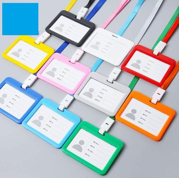 Taşınabilir KIMLIK IC Kartları ile kılıf İpi dize halat plastik boyun kart Tutucu etiketi otobüs kartları set ofis okul tedarikçisi Kırtasiye