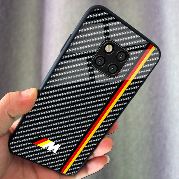 VW R Glass Tempered Phone Case Carbon Fiber Cover Car logo automobile AMG Bmw Samsung Galaxy s9 s9+ s10 s10+ plus s10lite Note9