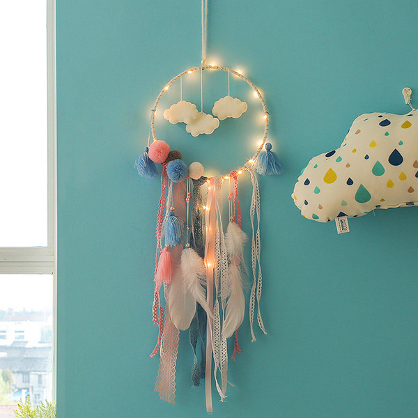 top popular Led Dream Catcher Roman Curtain Cloud Feather Dreamcatcher Girl Birthday Gift Baby Room Decor Children Room Nursery Decor with Lamps M1604 2021