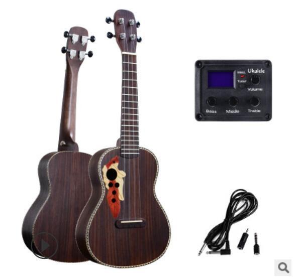 бесплатная доставка специального New виноградного отверстие 23 дюймов полного палисандра укулеле EQ коробка струна углерода маленькой гитара начинающая практика