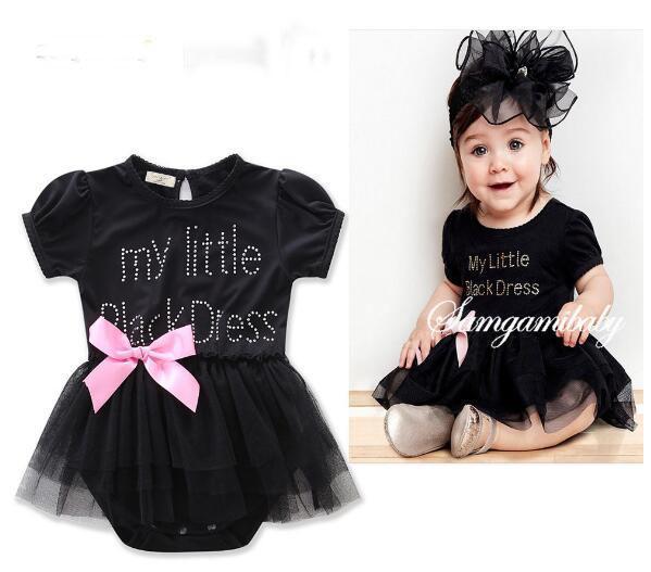 Estate nuovi onesies bambini esplosione modelli per neonati ragazze arco carino gonna a rete nera