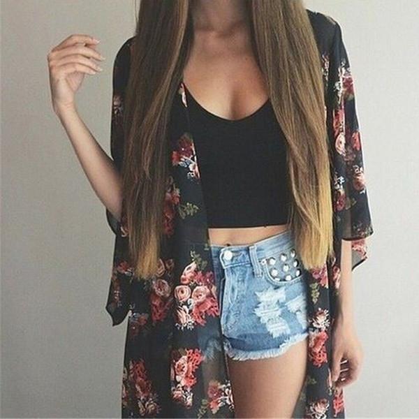 Blusas de gasa largas de verano Kimono Preto suelta blusa impresa Tops camiseta Negro Casual Vintage Kimono Cardigan Señoras Estampado floral Cardigan
