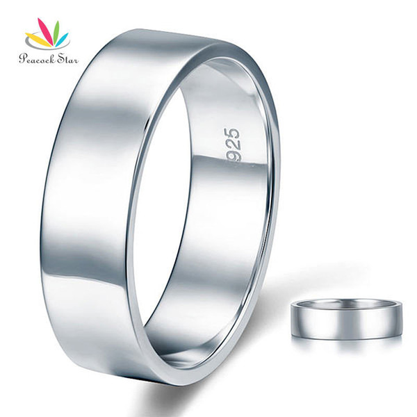Peacock Star High Polished Men's Solid Sterling Solid 925 Silver Wedding Band Ring Jewelry Cfr8056 J190627