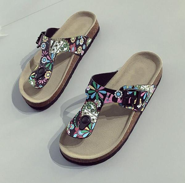 New Summer Sequins Beach Cork Slippers Sandals Casual Double Buckle Clogs Women Non-slip Flip Flops Flats Shiny Shoes