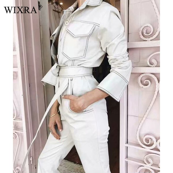 Wixra 2019 New Womens Clothing Cool Long Sleeve Sashes Jumpsuits Turn Down Collar Pockets Casual Solid Playsuits For Female MX190806