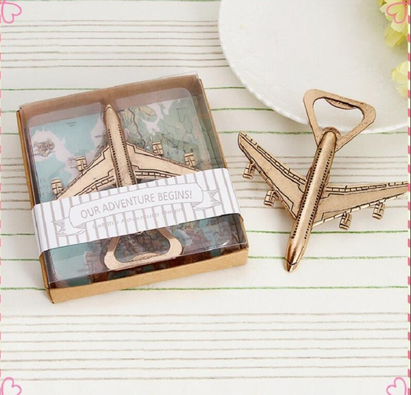 "500PCS ""Let the Adventure Begin"" Airplane Bottle Opener giveaway baby shower birthday party gift wedding favaors"