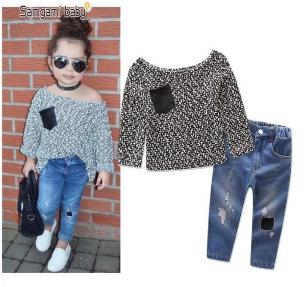 Baby Girls Clothes Sets Autumn Casual Fashion Kids Girl Cotton Off Shoulder T-shirt+Jeans 2PCS Clothing Suits Chlidren Costumes