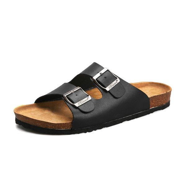 Men Sandals 2018 Fashion Men Slipper Summer Beach Shoes Open Toe Slides Cork Slippers men sandals leather