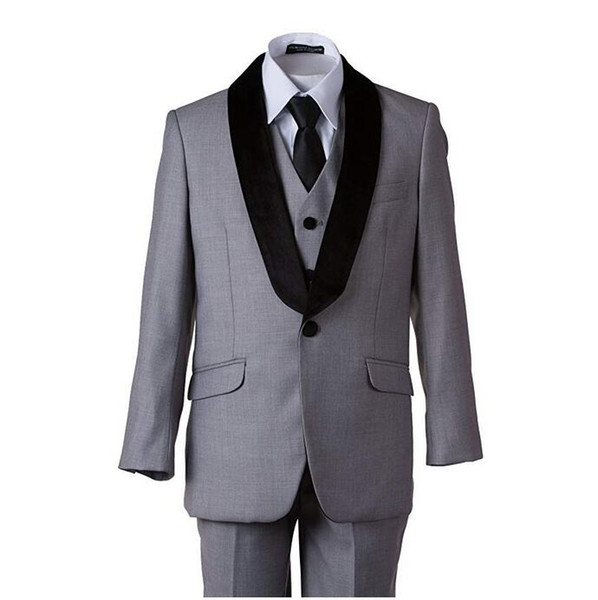 Boy Formal Suit Shawl Lapel 5 Pieces (Jacket+Pants+Vest+Shirt+Bow Tie) Kids Prom Tuxedos Blazer Ring Boy Suit for Wedding Party Custom Made