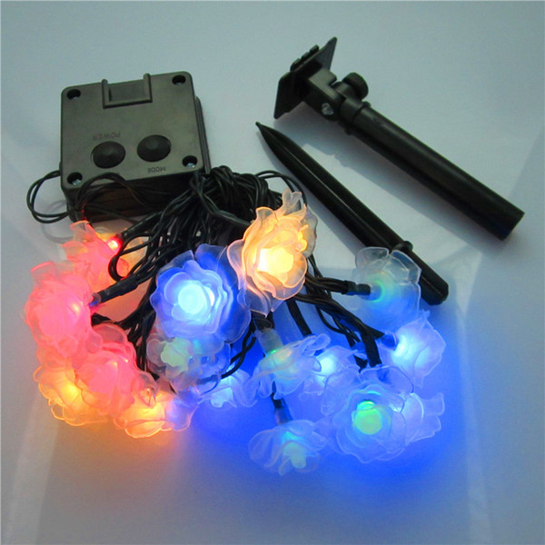Christmas Holiday Outdoor Garden 20 LED Flower Decorative Lights Lutos/Rose/Snowflake Solar Operated String Lights
