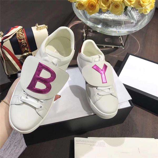 2019 New Genuine couro Flats designer de tênis mulheres e homens sapatos casuais e sapatos de luxo dos homens abelha, abelha, cães, tigres