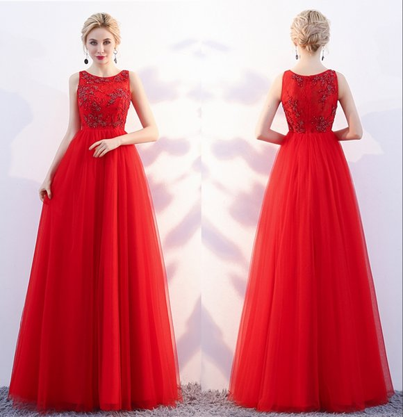 Red Elegant Formal A-Line Evening Dresses Dignified Atmosphere Round lace Bud Beads A Party Qi Prom Eance Dresses DH101