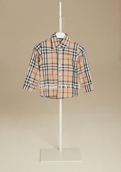 Erkek ekose gömlek tasarımcı stil çocuk yaka uzun kollu gömlek çocuklar pamuk casual marka erkek giyim haki kırmızı mavi A01141 tops