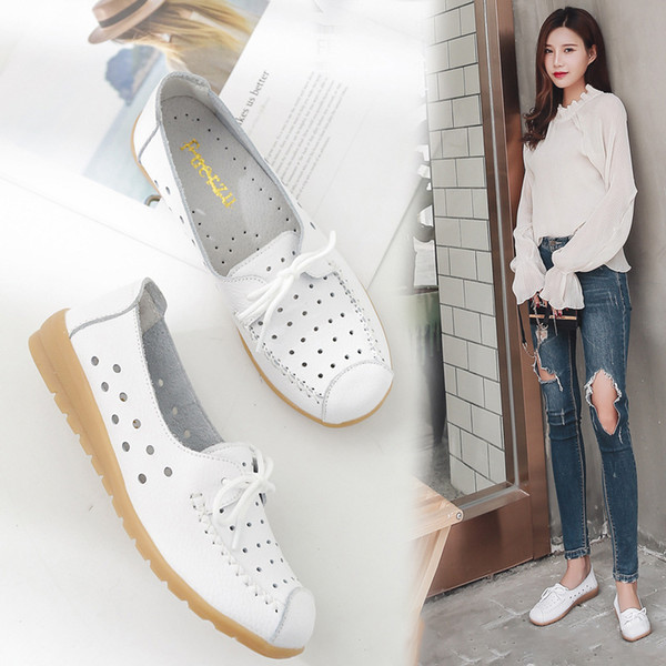 2019 Summer Women Ballet Shoes Flats Cut Out Leather Breathbale Women Boat Shoes White Ballerina Ladies H-745