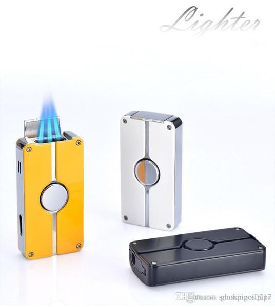 JET por mayor de regalo hermoso de la moda 3 antorcha de llama Blue metal de gas butano puro inflable más ligero con PUNCH a prueba de viento de la antorcha Refrillable