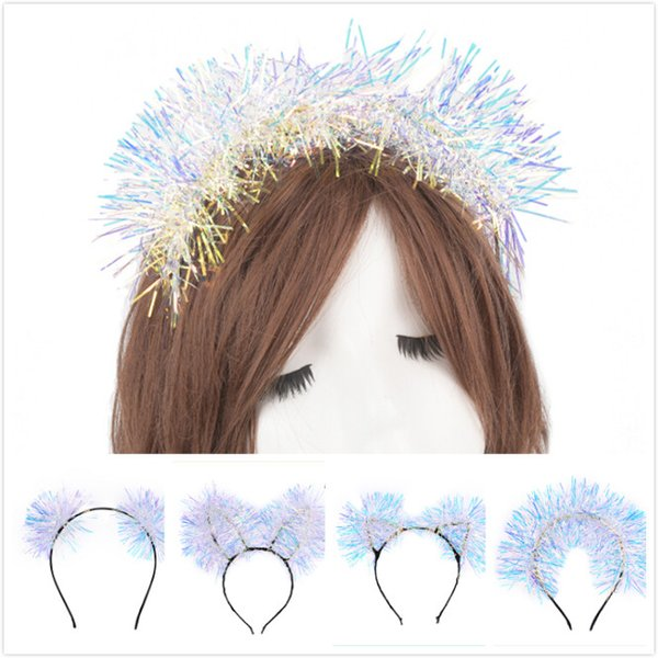 Le ragazze delle donne Colorful Shiny Ribbon Hair Band Tinsel Foil Hair Hoop Headband Regali di Natale Regali Accessori