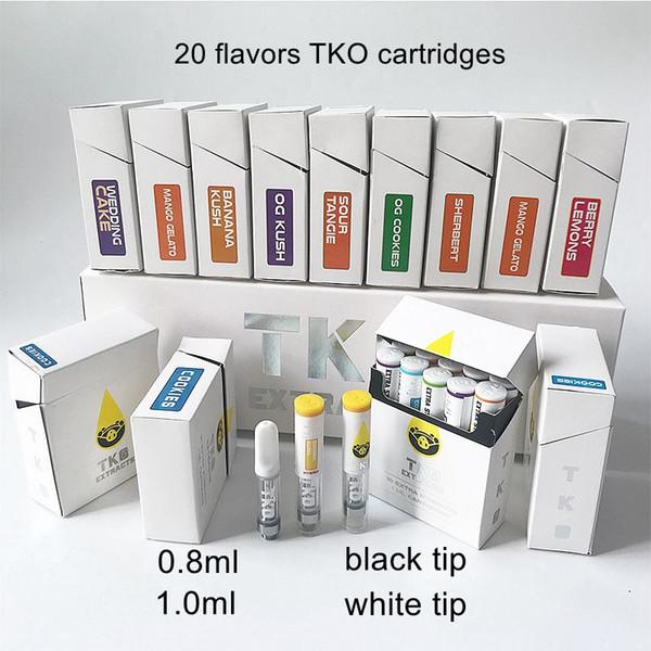Cartuchos de extractos de TKO 1 ml de aceite grueso de cerámica Vaporizador de cera Dab Empaquetado de cartuchos Vape vacío 510 Batería Atomizador Cig E con caja de 20 sabores