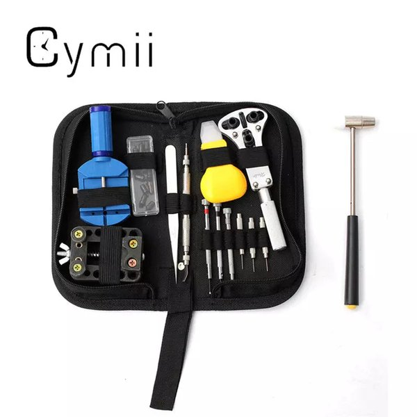 Wholesale-Cymii 14Pcs Watch Repair Tool Kits Set Watches Opener Strap Link Pin Remover Spring Bar w/ Carrying Case Tweezer Watchmaker