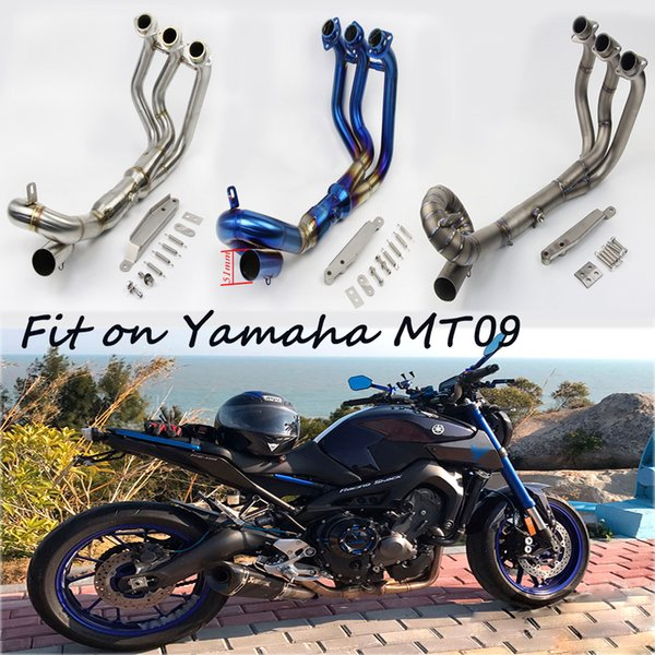 For Yamaha MT-09 2014-2018 Motorcycle Titanium Alloy Front Link Tubes Non-destructive Modified Exhaust Muffler Pipe System