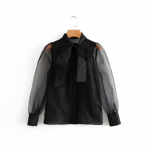 Vintage Kadınlar Seksi Şeffaf Yay Bağlı Yaka Rahat Siyah Organze Bluz Gömlek Kadınlar İş Feminina Blusas Chic Ls2738 Tops