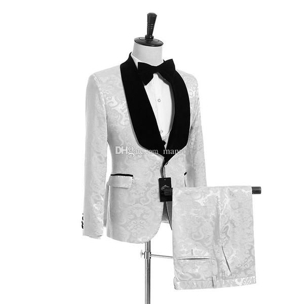 Fashionable Groomsmen Shawl Black Velvet Lapel Groom Tuxedos White Pattern Men Suits Wedding/Prom Best Man ( Jacket+ Pants+Vest+ Tie ) M949
