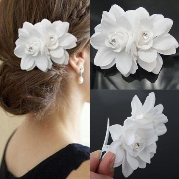 1 pc blanc mode femmes dames été été mariage mariée orchidée fleur pince à cheveux barrette cheveux accessoires