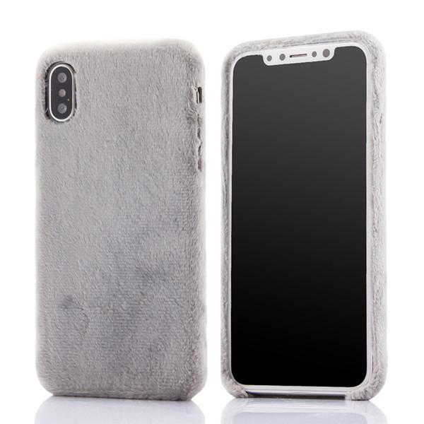 Pour iphone xs max imitation en peluche en peluche trois coque de téléphone portable côté souple housse de protection pour Apple 7plus