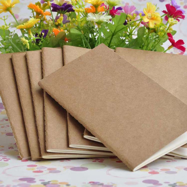 top popular Kraft Brown Unlined Travel journals Notebook Soft Kraft Brown White Notebook for Travelers Students and Office Sketchbook 8.8*15.5cm 2021