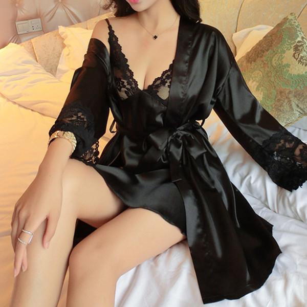All'ingrosso-New Sexy pizzo da donna in raso di seta Camicia da notte + Accappatoio Pigiama Set manica lunga pigiameria lounge Set femminile Camicia da notte Homewear